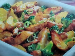 Картофель с курицей и брокколи