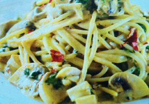 Спагетти с грибами под соусом