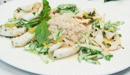кальмар с рисом йогуртом