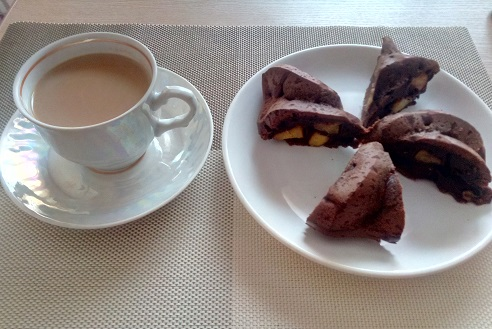 шоколадный кекс с манго
