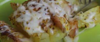 картошка с ветчиной под сыро