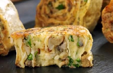 картофельно-грибные рулеты